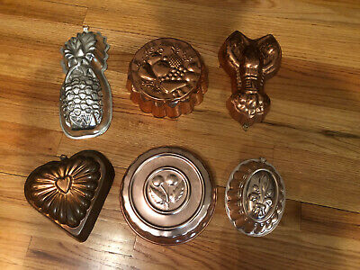 LOT OF 6 Vintage Jello Molds COPPER TIN FOOD MOLD