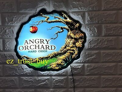 """Rare New Angry Orchard Hard Cider Beer Logo Bar LED 3D Light Lamp Neon Sign 17"""""""