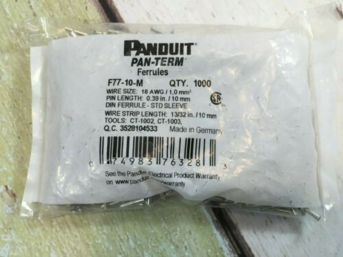 PANDUIT F77-10-M FERRULES QTY 1000 BRAND NEW IN THE PACKAGE