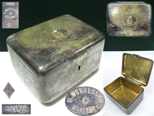 Antique Judaica BOX Warsaw B. HENNEBERG WARSZAWA Silver Plated
