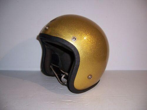 Vintage 1960s Grant GP-2 Gold Metal Flake Motorcycle Helmet