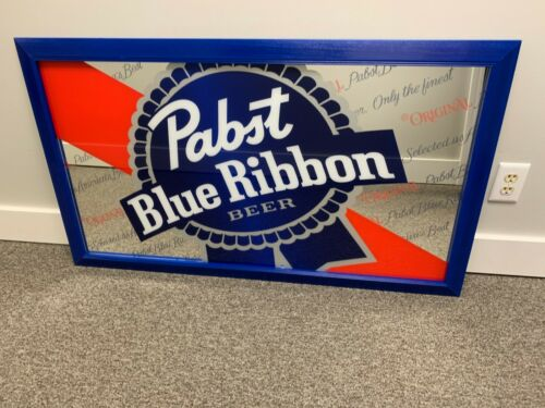 Pabst Blue Ribbon Beer Mirror NEW NEVER DISPLAYED Large PBR mirror 4 feet long!!