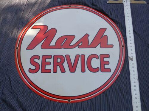 """VINTAGE """"NASH SERVICE"""" CAR & TRUCK DEALER 30"""" PORCELAIN METAL GASOLINE OIL SIGN!"""