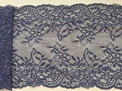 Navy Blue Stretch Lace  17cm/6.75