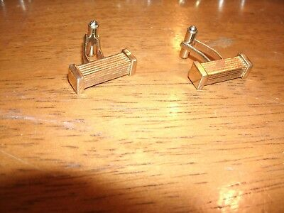 1 pair of Cufflinks – Rectangular - Gold Color - Mens Attire