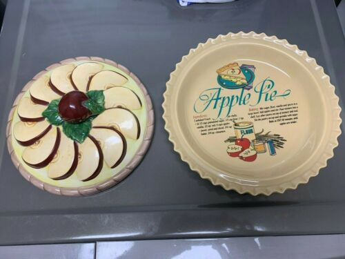 vintage Ceramic Apple Pie Baking + Serving Covered Dish recipe Universal trumps