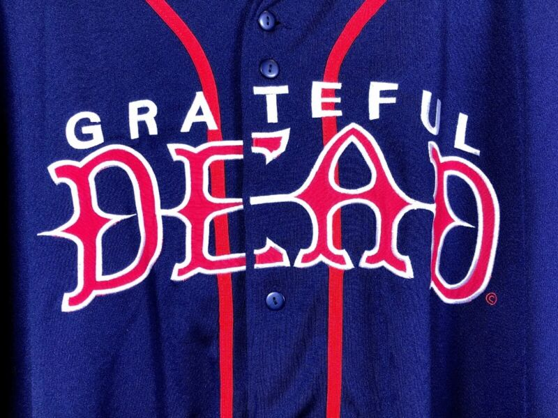 Vtg Grateful Dead Liquid Blue Steal Your Face Baseball 6XL Jersey EMBROIDERED