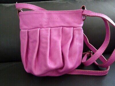 VERA PELLE Kleine Echt LEDER Handtasche pink NEU Tasche Umhängetasche Italy