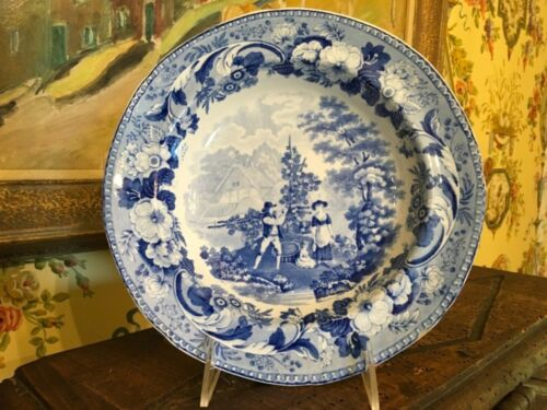 Blue & White Antique English Bowl Pearlware Floral Rural Scenery Circa 1820
