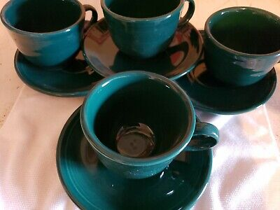 Fiesta Evergreen Cup & Saucer Set Of 4 1st Quality  Evergreen Cup