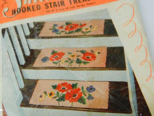 """Vintage SULTANA Set of 3 Hooked Rug STAIR TREAD Hooking Pattern POPPIES 9x24"""""""