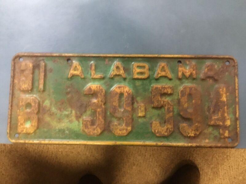 Alabama Car Tags 1931