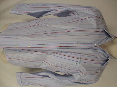Lacoste Mens Blue Stripe Long Sleeve Cotton Shirt size 42 L France Made