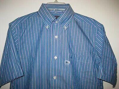 Nautica Mens Striped Short Sleeve Button Down Cotton Wrinkle Resistant Shirt M