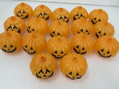 14 ct Vintage Blow Mold Pumpkin String Light Covers Double Faced A3230