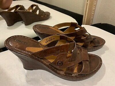Born Womens Brown Leather Strappy Sandals Wedge Size 9 Brown Leather Wedge Sandal
