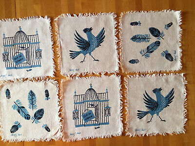 Vintage Tammis Keefe Cocktail Napkins Set Of 6 Birds Blue Jays Out To Lunch