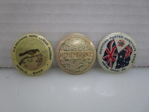 Lot of 3 Antique World War 1 WWI Era Australian Pin Back Buttons (AL)