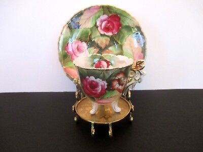 Chubu China Hand Painted Demitasse Cup and Saucer, Occupied Japan