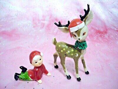Vintage PUTZ Christmas Santa Cap Reindeer & Elf Pixie Hong Kong Figurine - Elf Reindeer