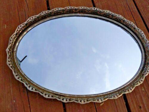 Vintage Silver Tone Filigree Vanity Mirror Tray Oval Perfume Dresser or on Wall