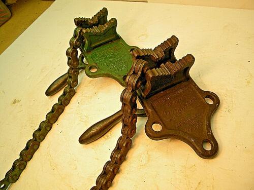 Two Vulcan # 1 Chain Pipe vises. Machinist, Mechanic, Metal working, Bench work