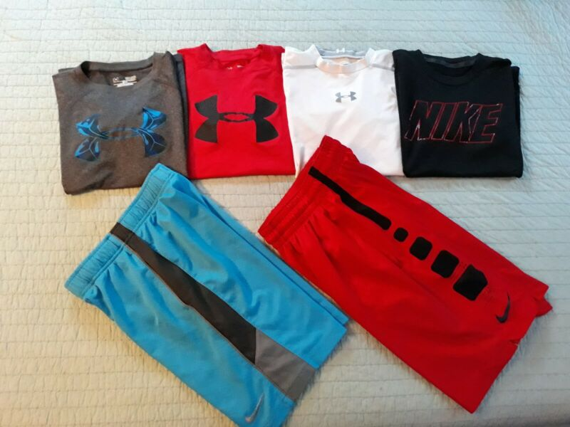 7 pc Lot- Boy Youth Small 8/10 Nike Under Armour Athletic Shirt Shorts Clothes