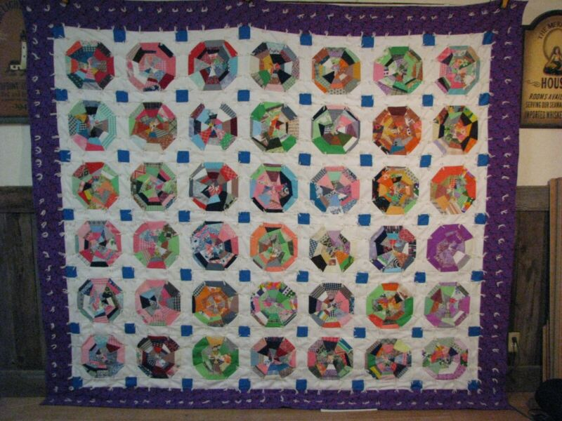 Vintage Quilt Very Colorful 98X86 Handmade