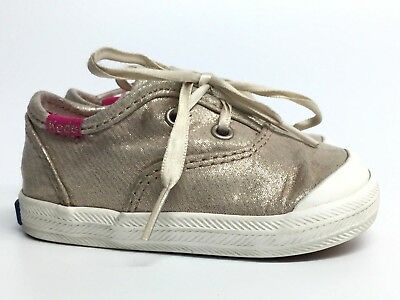 KEDS Gold Tennis Shoes Athletic Baby Girls Infant Size EU 18 US  2 Months  ()