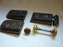 3 Old Vintage Rim Locks - Rimlocks Rim Lock & Brass Knobs. Prospect Launceston Area Preview