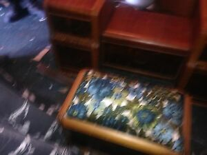 Antique bench seat with mirror