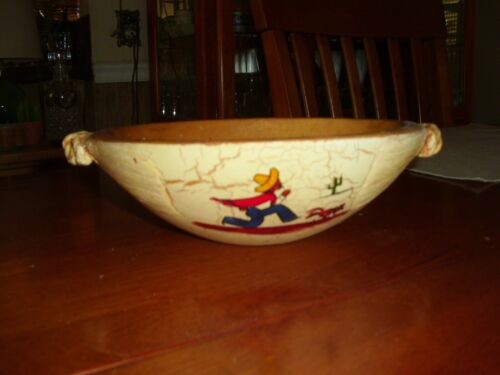 Vintage Early California Rancho Craft Mexican Motif Small Oval Bowl