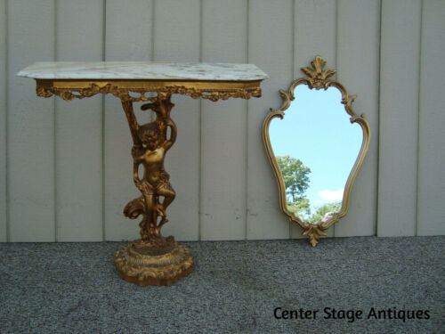 00001 Cherub Gold Console Hall Table Stand with Mirror