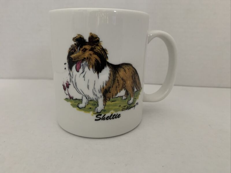 Porcelain by Rosalinde Coffee Mug Sheltie Hand decorated In U.S.A. Great Gift 🐶