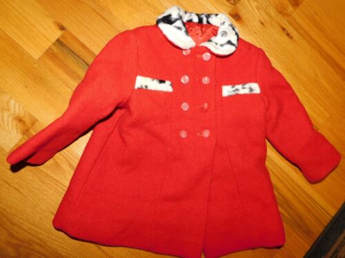 Sears Red Wool Toddler Coat Vintage w/ Faux Fur Accents Size 3T