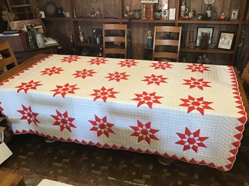 Vintage Quilt....Red & White 8 Point Star