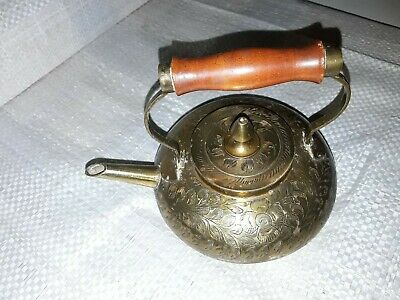 Vintage ornamental small brass or Copper Pot with a wooden handle