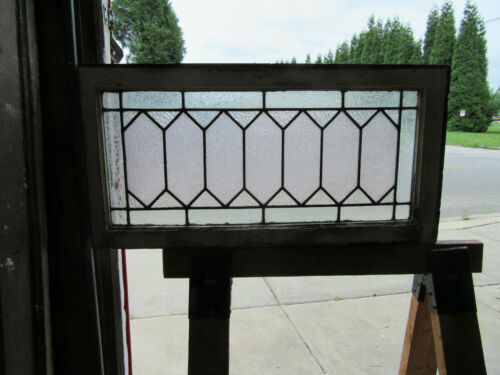 ~ANTIQUE STAINED GLASS TRANSOM WINDOW ~ 31.5 x 16 ~ ARCHITECTURAL SALVAGE ~