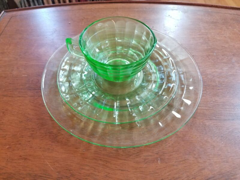 Green Depression Glass Tea Cup, Saucer & Salad/Desert Plate, 14 Sets  Available
