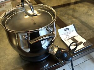 Prestige stainless steel electric stockpot with pasta strainer