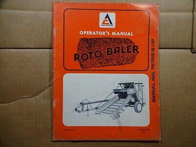 Allis Chalmers Roto Baler Operators Manual Serial Number 75702 And Up 1973