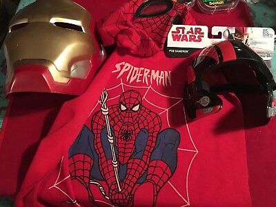 Halloween Lot of 3 Containing Child Costumes 2 mask 1 Spider-Man mask and cape