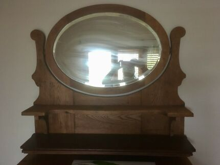 VINTAGE WALL MIRROR WITH 2 SHELVES