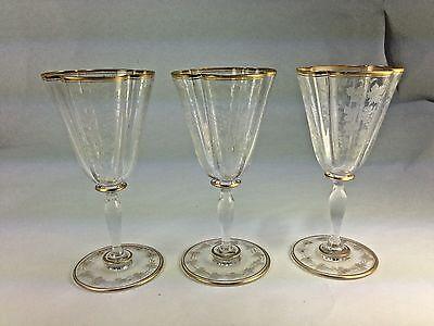 Antique Superb Elegant Three Gold Gilt Grape Etched Bohemian Wine Glasses