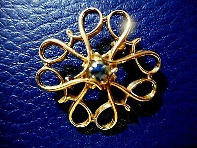 VINTAGE 10K SOLID GOLD BLUE SAPPHIRE HANDMADE DESIGNER SIGNED  BROOCH 2.27gms    Blue Sapphire Gold Brooch