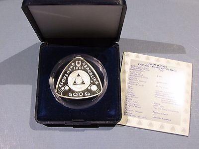 2001 Slovakia Slovak 500 Korun Silver Proof Coin Start 3rd Millenium PP Republic