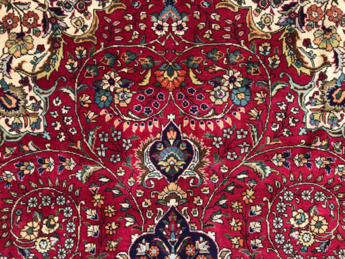 9x12 RED ANTIQUE ORIENTAL RUG HAND-KNOTTED WOOL blue big vintage handmade carpet