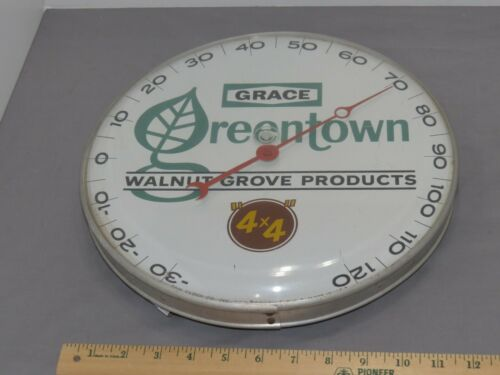 Vintage GRACE Greentown WALNUT GROVE 4x4 Feed PAM Thermometer Iowa 1950s Plastic