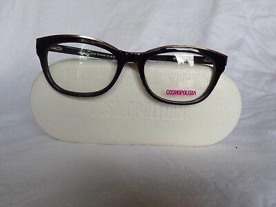 New Women's Cosmopolitan Eyeglass Frame Ashley Black Shimmer Plastic 52-17-140