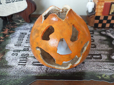 Halloween jack o lantern dried gourd carved and painted with vintage style - Halloween Face Paint Jack O Lantern